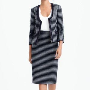 J Crew tweed wool striped pencil skirt